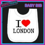 I LOVE HEART LONDON WHITE BABY BIB EMBROIDERED